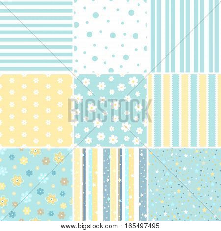 Set of Seamless delicate geometric patterns with Flower star polka dots stripes. Endless texture can be used for wallpaper pattern fills web page background. Vector illustration