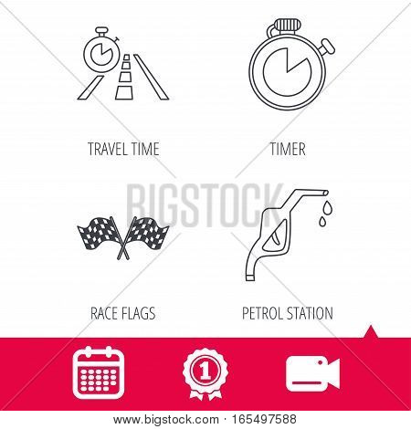 Achievement and video cam signs. Race flags, travel timer and petrol station icons. Timer linear sign. Calendar icon. Vector