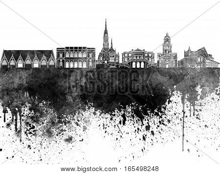 Gothenburg skyline in artistic abstract black watercolor