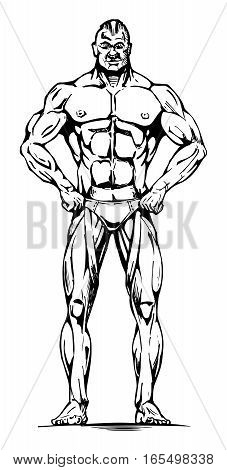 Vector illustration of athletic man full length in ink hand drawn style.