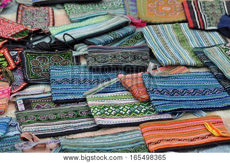 Handmade Textiles For Sale In The Rural Market Of Sa Pa, Vietnam