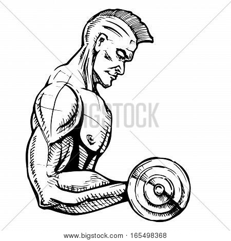 Fitness. Powerful muscular man lifting weights. Vector illustration in ink hand drawn style.