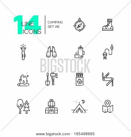 Camping and Hiking - modern vector line design icons set. Compass, boots, flashlight, binocular, thermos, fishing, fire, spade, axe, matches pocket knife trees backpack tent map