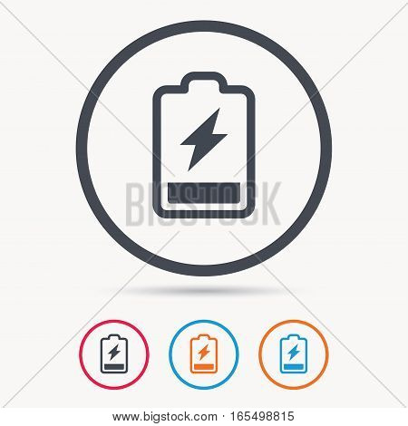 Battery power icon. Charging accumulator symbol. Colored circle buttons with flat web icon. Vector