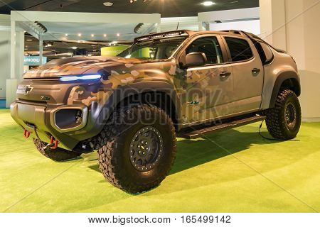 DETROIT MI/USA - JANUARY 12 2017: A Chevrolet Colorado Military ZH2 SUV at the North American International Auto Show (NAIAS).