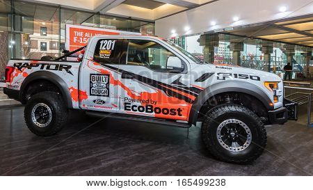 DETROIT MI/USA - JANUARY 12 2017: A 2017 Ford F-150 Baja Raptor Race truck at the North American International Auto Show (NAIAS). Driver: Greg Foutz