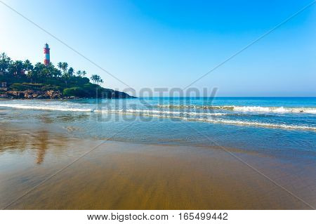 Kovalam Beach Ocean Waves Light House Outcrop H
