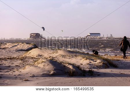 On The Beach Of St. Peter-ording In Germany