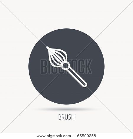 Brush icon. Paintbrush tool sign. Artist instrument symbol. Round web button with flat icon. Vector