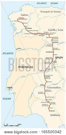 Map of the Way of St. James from Seville to Santiago de Compostela (Via de la Plata), Spain