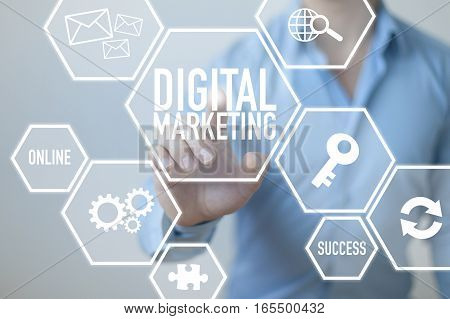 Digital marketing business concept with businessman and text