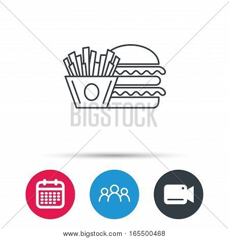 Burger and fries icon. Chips, sandwich sign. Hamburger fast food symbol. Group of people, video cam and calendar icons. Vector
