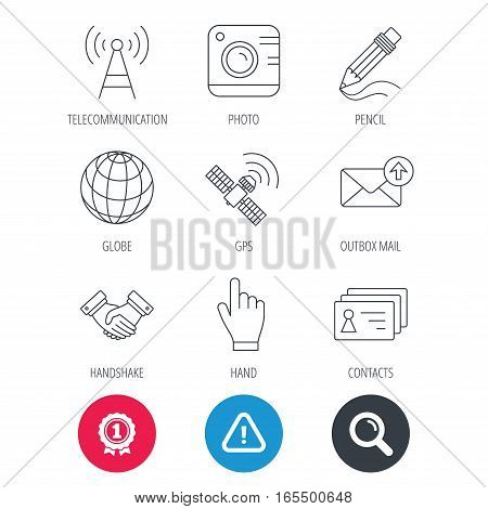Achievement and search magnifier signs. Handshake, contacts and gps satellite icons. Pencil, photo camera and mail linear signs. Telecommunication station flat line icons. Hazard attention icon