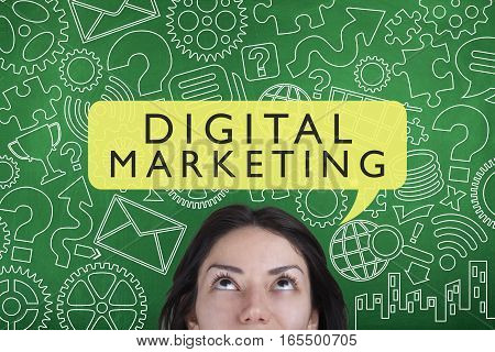 Digital marketing business concept with business person