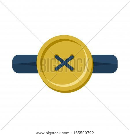 Button In Buttonhole Isolated. Accessories For Clothes On White Background