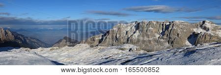 Panoramic landscape of Dolomite Alps in Madonna di Campiglio. Italy