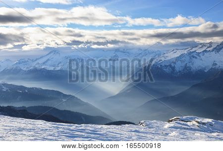 Amazing mountain landscape of Dolomite Alps in Madonna di Campiglio. Italy