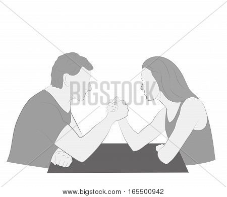 Men vs. women. arm wrestling. vector illustration