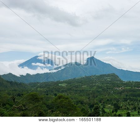 Scenic view to the Agung and Abang volcanoes, Bali island, Indonesia.