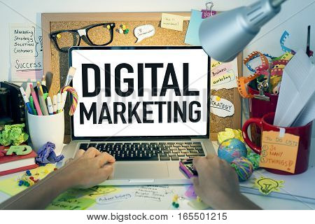 Digital marketing business concept with laptop and person in office