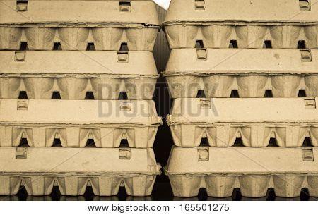 Close Up View Of Arranged Carton Egg Boxes
