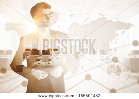 Handsome young businessman thinking about employment. Double exposure