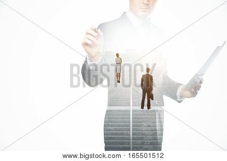Creative image of thoughtful businesspeople standing on concrete stairs with bright light. Success concept. Double exposure