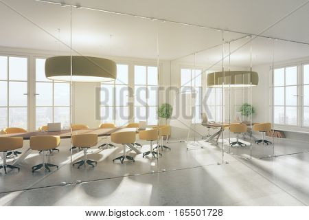 Modern meeting interior with blank whiteboard. 3D Rendering