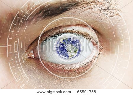 Close up of eye with digital patter and globe. Scanning for personality identification