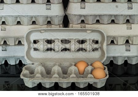 Egg Box With Three Organic Chicken Eggs Inside