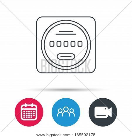 Electricity power counter icon. Measurement sign. Group of people, video cam and calendar icons. Vector