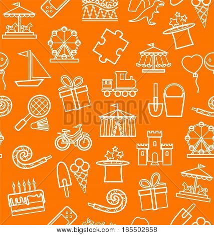 Children's entertainment and leisure, background, seamless, contour, orange. Vector background with objects for the entertainment of children. White linear image on the orange box.