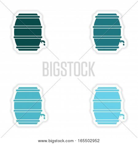 concept stylish paper sticker on white background keg beer
