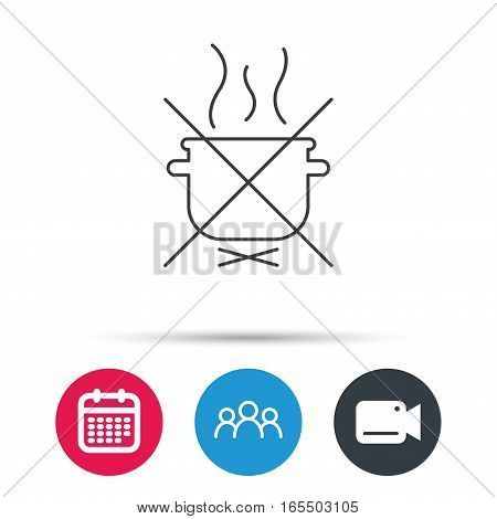 Boiling saucepan icon. Do not boil water sign. Cooking manual attenction symbol. Group of people, video cam and calendar icons. Vector