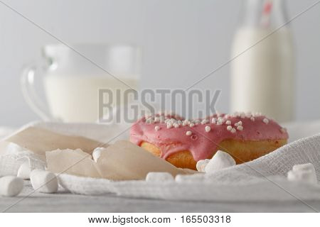 Pink Donuts With Milk