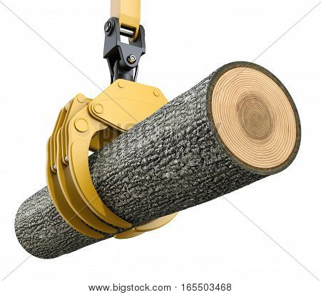 Yellow lifting crane with gripping claw holding oak tree - 3D illustration