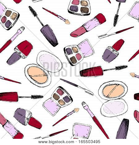 Make Up - Colored Seamless Pattern With Hand-Drawn Elements
