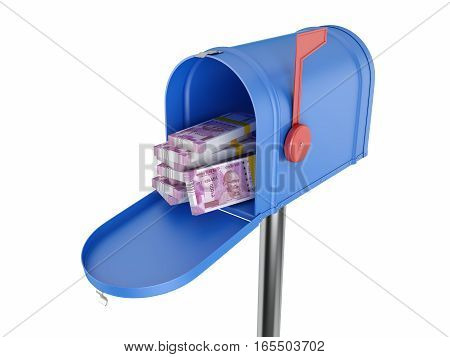 New Indian Currency with Mail Box - 3D Rendered Image
