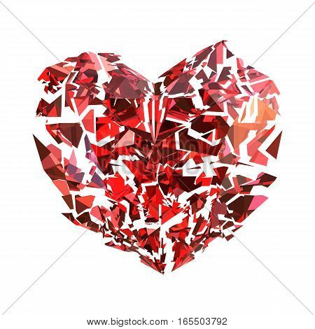Isolated broken red ruby heart on white
