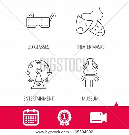 Achievement and video cam signs. Museum, ferris wheel and theater masks icons. 3d glasses linear sign. Calendar icon. Vector