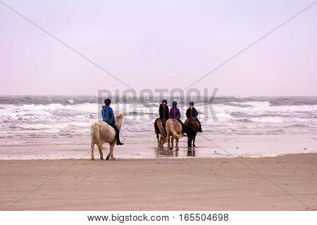 Riding Girls On A Beach