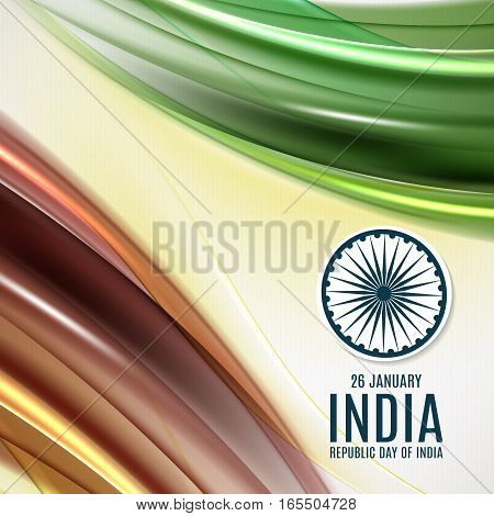 Indian Independence Day concept background with Ashoka wheel. 26 of january Vector Illustration
