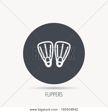 Swimming flippers icon. Diving sign symbol. Round web button with flat icon. Vector