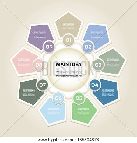 Vector infographic. Template for diagram graph presentation and chart. Business concept with 9 options parts steps or processes. Vector diagram. Progress background.