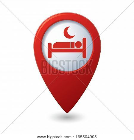 Red map pointer with hotel. hostel or hospital symbol icon