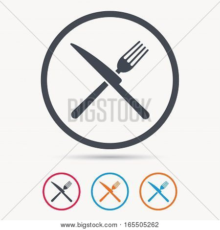 Fork and knife icons. Cutlery symbol. Colored circle buttons with flat web icon. Vector