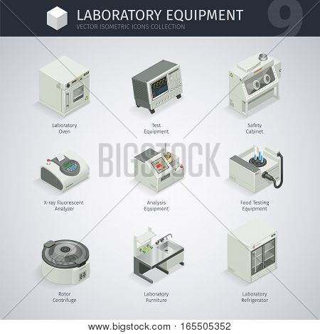 Laboratory equipment. Vector isometric icons collection. Clipping paths included in JPG file.