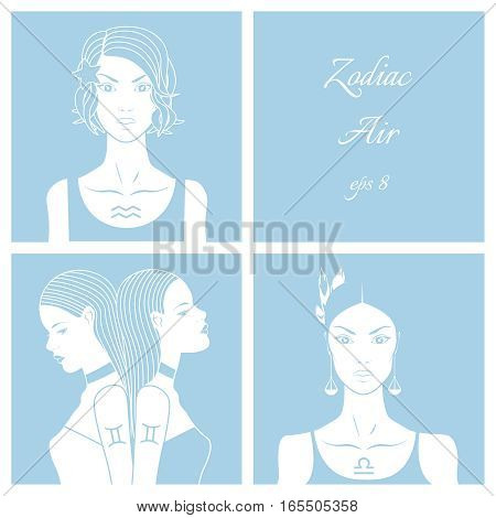 Zodiac. Vector illustration of Libra, gemini and aquarius. Isolated on light blue background