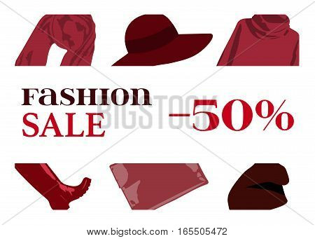 Banner sales autumn collection. Fashionable women's clothing: broad-brim, hat, sweater, scarf, handbag, high boots. Set color clothes Marsala