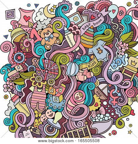 Cartoon cute doodles hand drawn Baby illustration. Colorful detailed, with lots of objects background. Funny vector artwork. Bright colors picture with children theme items